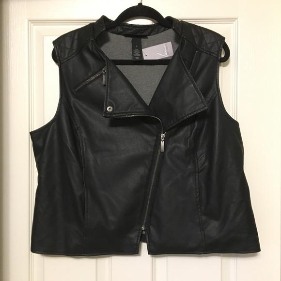 a3ee5a6eb58 NWT LANE BRYANT black zippered vest